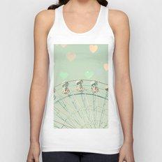 Ferris wheel nursery and heart bokeh on pale blue Unisex Tank Top