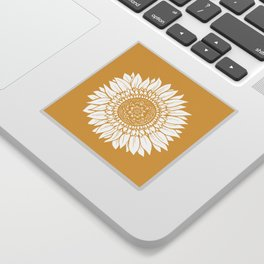 Yellow Sunflower Drawing Sticker