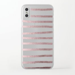 Simply Drawn Stripes Rose Gold Palace Clear iPhone Case