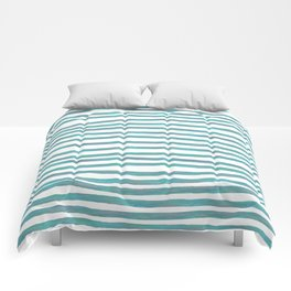 Ocean Green Hand-painted Stripes Comforters