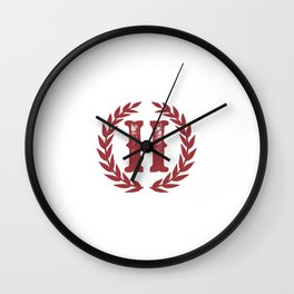 Rustic Red Monogram: Letter H Wall Clock