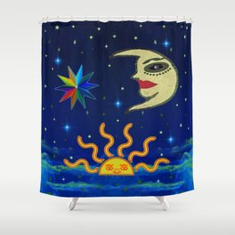 Sunshine Half Moon Stars Shower Curtain