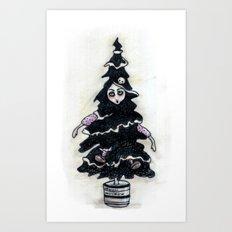 Black Xmas Tree Art Print
