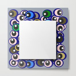 Eyes and white cube Metal Print