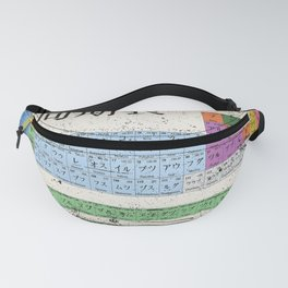 Japan Japanese Periodic Table Of The Elements Vintage Chart Silver Fanny Pack