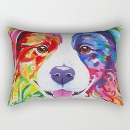 Rainbow Border Collie - Toby Rectangular Pillow