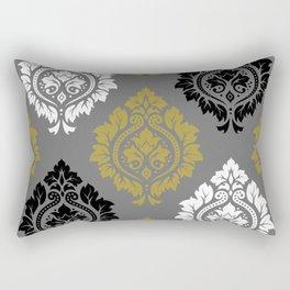 Decorative Damask Pattern BW Gray Gold Rectangular Pillow