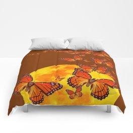 MONARCH BUTTERFLIES GOLDEN MOON BROWN FANTASY Comforters