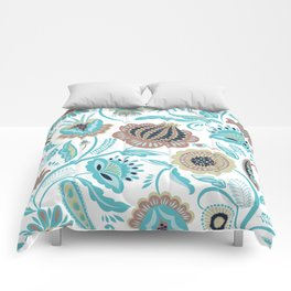 Colorful exotic folk flowers pattern Comforters