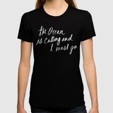 The Ocean is Calling by Laura Ruth and Leah Flores  Black Womens Fitted Tee LARGE
