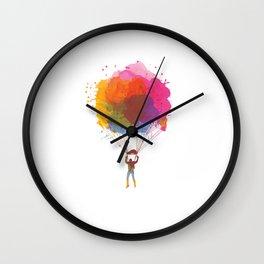 Watercolor Skydiving Parachuting Skydiver Sports Wall Clock