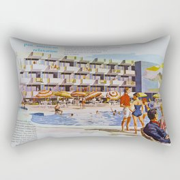 1950's Retro Hotel Wildwood Rendering,  Wildwood, New Jersey Rectangular Pillow