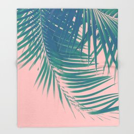 Palm Leaves Blush Summer Vibes #2 #tropical #decor #art #society6 Throw Blanket