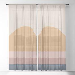 Minimal Retro Sunset - Neutral Sheer Curtain