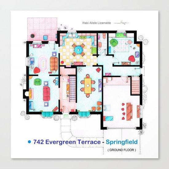 The house of Simpson family - Ground floor Canvas Print