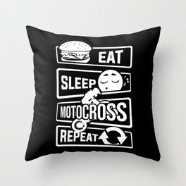 Eat Sleep Motocross Repeat - Motorcycle Motorsport Throw Pillow