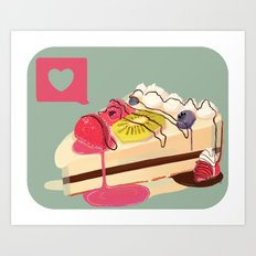 Berry Heart Cake Art Print