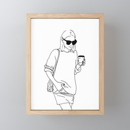 Woman with Coffee Framed Mini Art Print