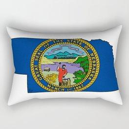 Nebraska Map with Nebraskan State Flag Rectangular Pillow