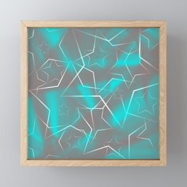 Crossing gray waves of light from flowing light blue stars on the fibers of the veil with dark, sp Framed Mini Art Print