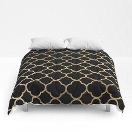 Elegant geometrical black faux gold quatrefoil Comforters