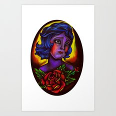 an old school girl Art Print