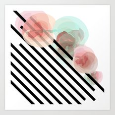 Watercolor Floral with Stripes Art Print