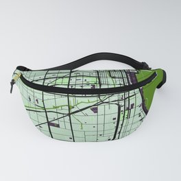 Chicago Street Map // Green Theme Fanny Pack