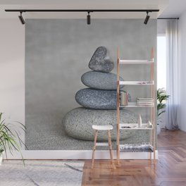 Balanced pebble stack with heart on top Wall Mural