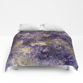 Writings in the Sky the Night Galaxy watercolor by CheyAnne Sexton Comforters