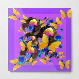 PANTENE ULTRA VIOLET GOLD BUTTERFLY BUBBLES DECORATIVE ART Metal Print