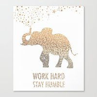 work hard Canvas Prints featuring WORK HARD by PATTERNS & COLOR