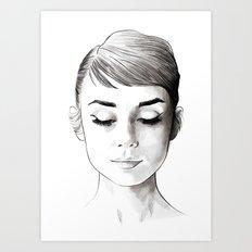 Pick the day, enjoy it to the hilt! Audrey hepburn portrait Art Print