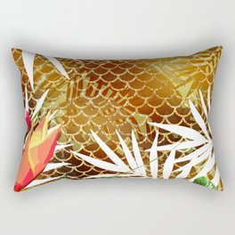 Tropical Flowers Mermaid Scales Rectangular Pillow