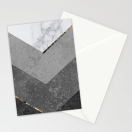 Marble Gray Copper Black Gold Chevron Stationery Cards