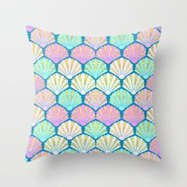 seashells in pink and teal, perfect for a mermaid Throw Pillow