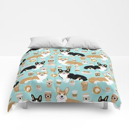Corgis and coffee pillow phone case corgi gift cute cardigan corgi art Comforters