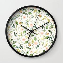 Botanical Spring Flowers Wall Clock