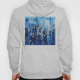 Blue waterfall encaustic painting Hoody