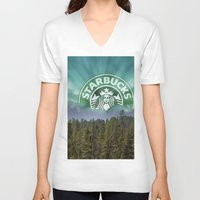 starbucks V-neck T-shirts featuring Starbucks Is Life by Tumblweave