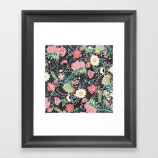 Pastel preppy hand drawn garden flowers chalkboard Framed Art Print