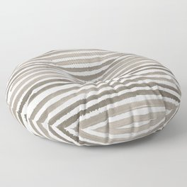 Simply Shibori Stripes Earth Brown on Lunar Gray Floor Pillow