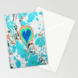 Turkish Heart Water Marbling Stationery Cards