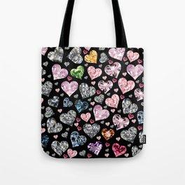 Heart Diamonds are Forever Love Black Tote Bag