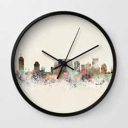 nashville city skyline Wall Clock
