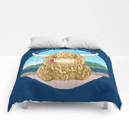 Scottish Highland Cow With Ocean Salty Hair Comforters