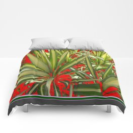 Contemporary Western Green-Red Desert Yucca Cacti Comforters