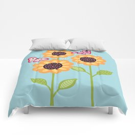 Yellow sunflowers and butterflies Comforters