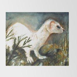 Winter stoat watercolor Throw Blanket