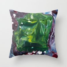 Color Commentary #7: Peggy's Cosmic Goo. (Green & Purple) [Peggy Correl] Throw Pillow